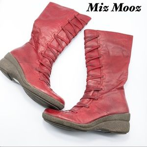 Miss Mooz Red leather Knee Hi Criss cross boots 7